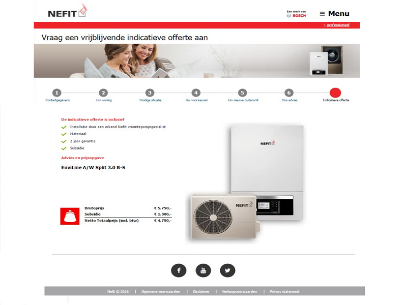 Online advice platform for Nefit heat pumps